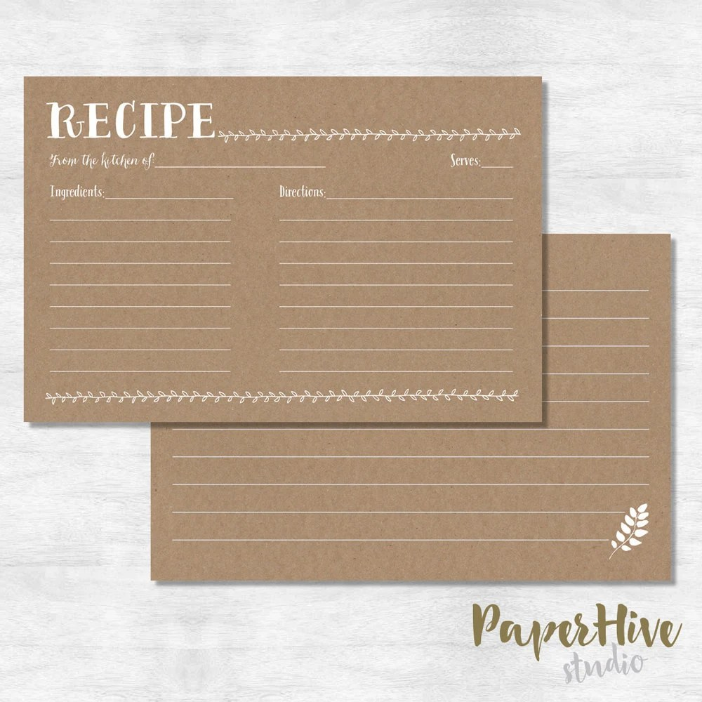 Rustic recipe card with kraft background / printed cards Etsy