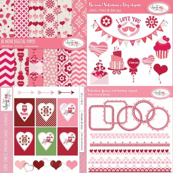 Valentine clipart, Valentine digital paper, Valentine card templates