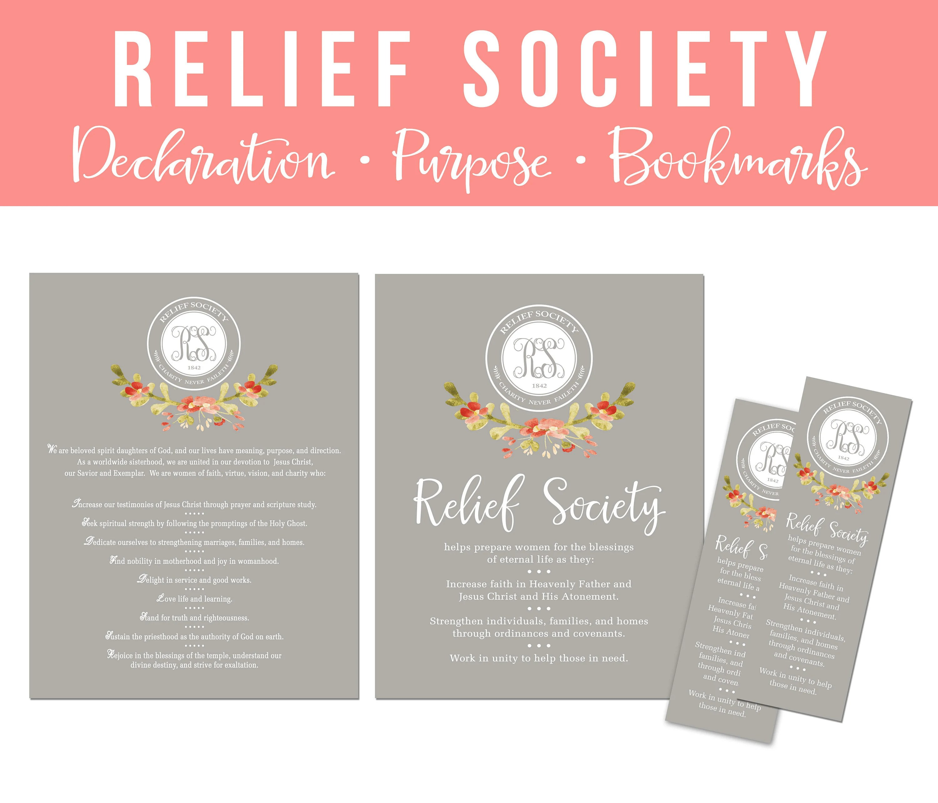 LDS Relief Society Printable Set-Relief Society Purpose  Etsy