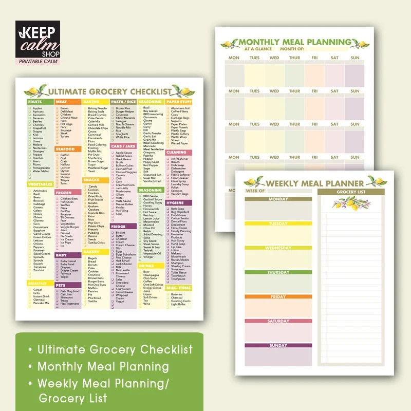 Ultimate Grocery Checklist PRINTABLE 85 x 11 inches Etsy
