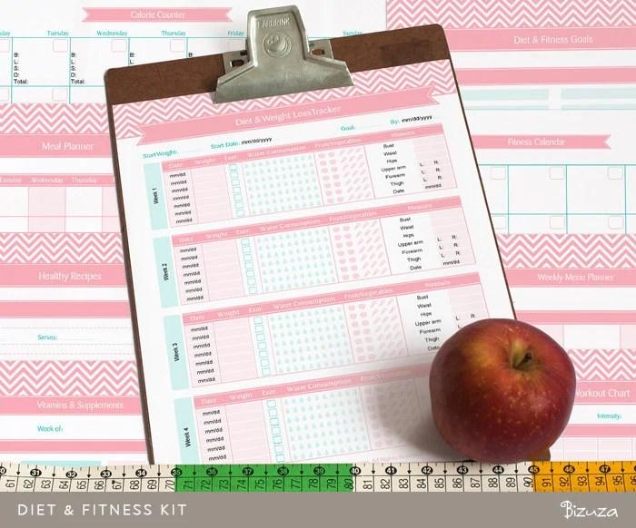 Diet Tracker  Fitness Planner Printable Kit 11 Editable PDF - diet and fitness tracker