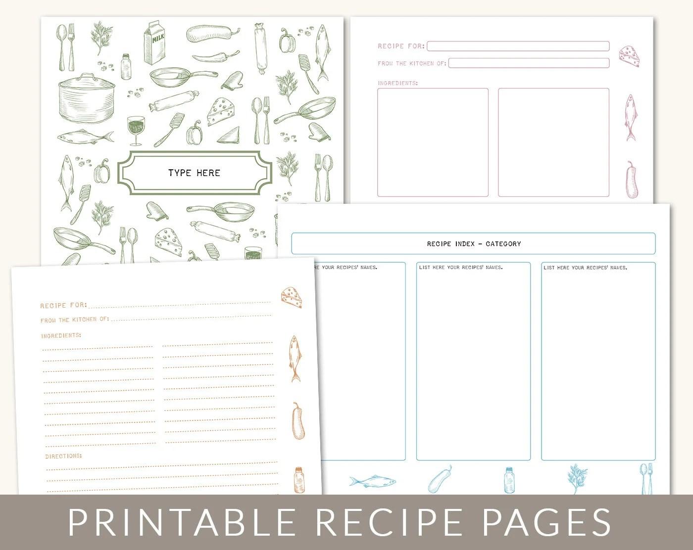DIY Custom Recipe Binder Cookbook Printable Pages 40 Etsy
