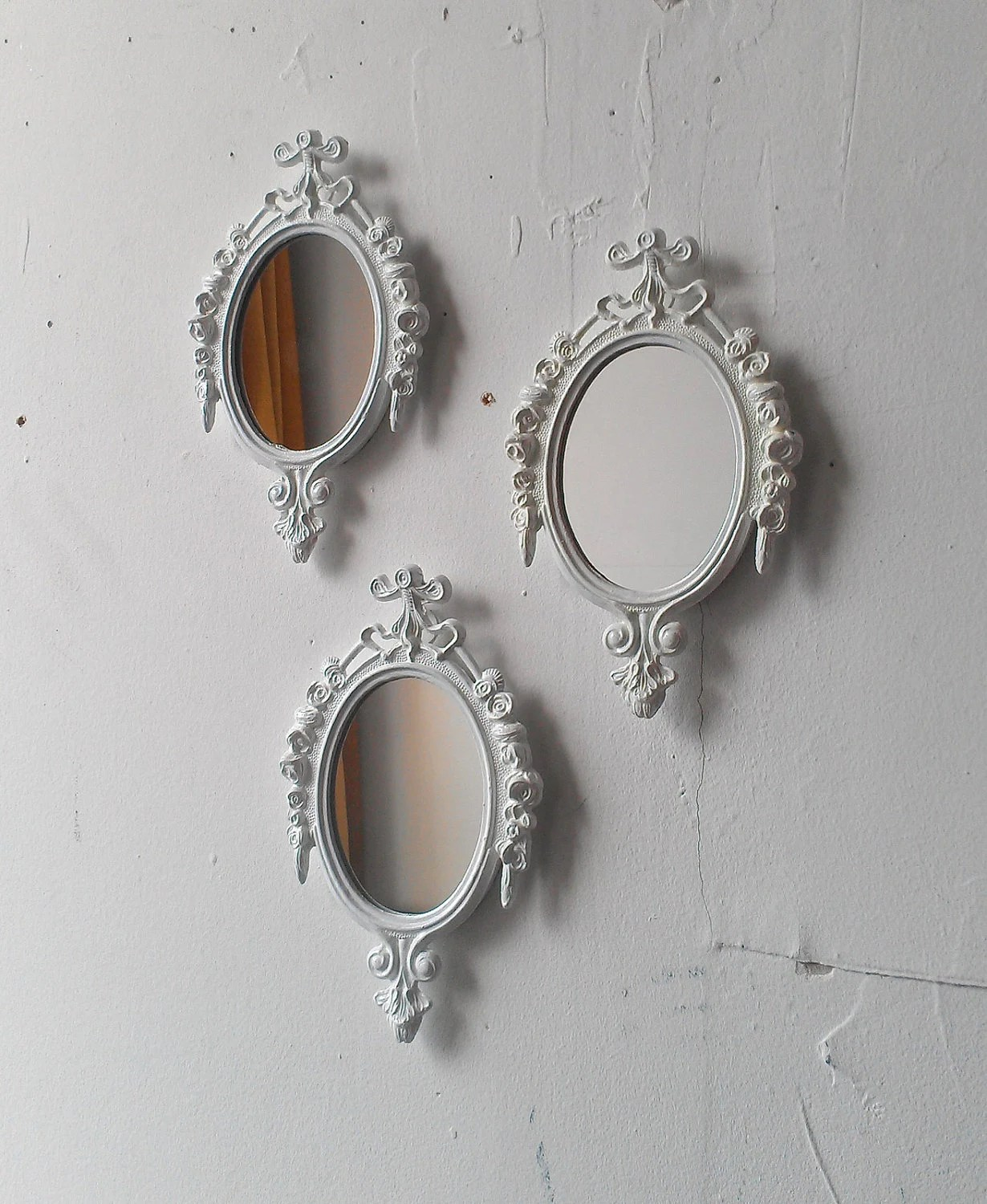 Decorative Mirror White Mirror Set Small Decorative Mirrors Vintage French Country Cottage White Nursery Wall Decor Ideas Baby Shower Gifts