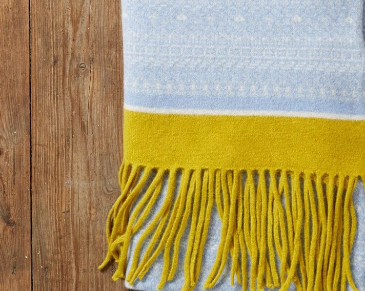Cozy Knitted Shawl Fair Isle Fringed Wrap Blanket Wrap Etsy