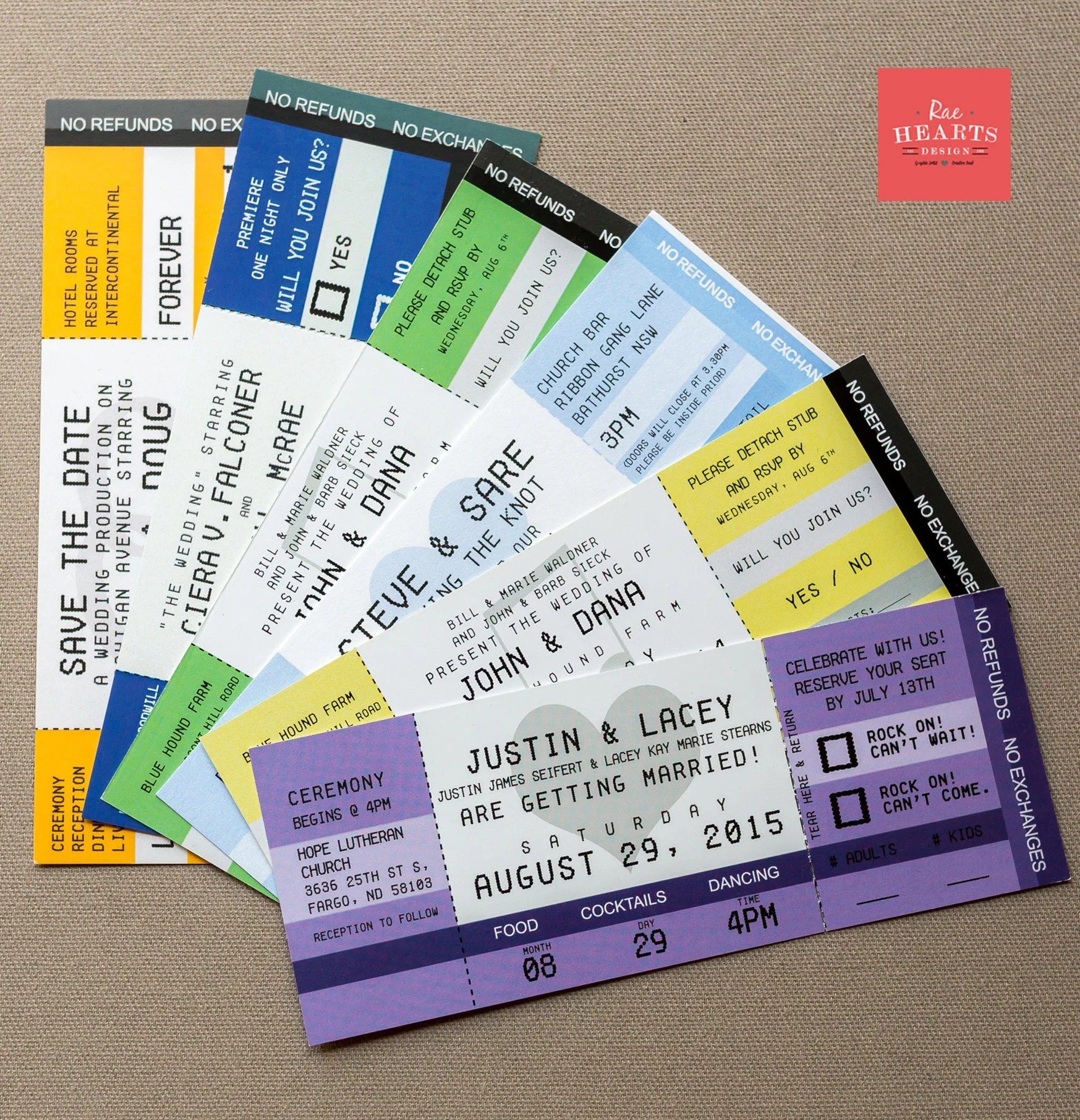 Concert Ticket Invitations Single Sided with Envelopes Etsy