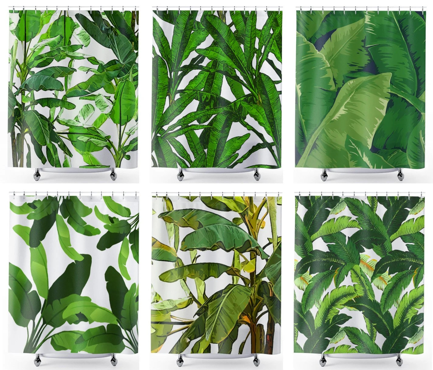 Banana Leaf Shower Curtain Custom Size Shower Curtain Extra Long Wide Tall Length Height Width Narrow Stall Small Clawfoot Tub 36 54 70 78 80 84 90 96 100 108 Inch