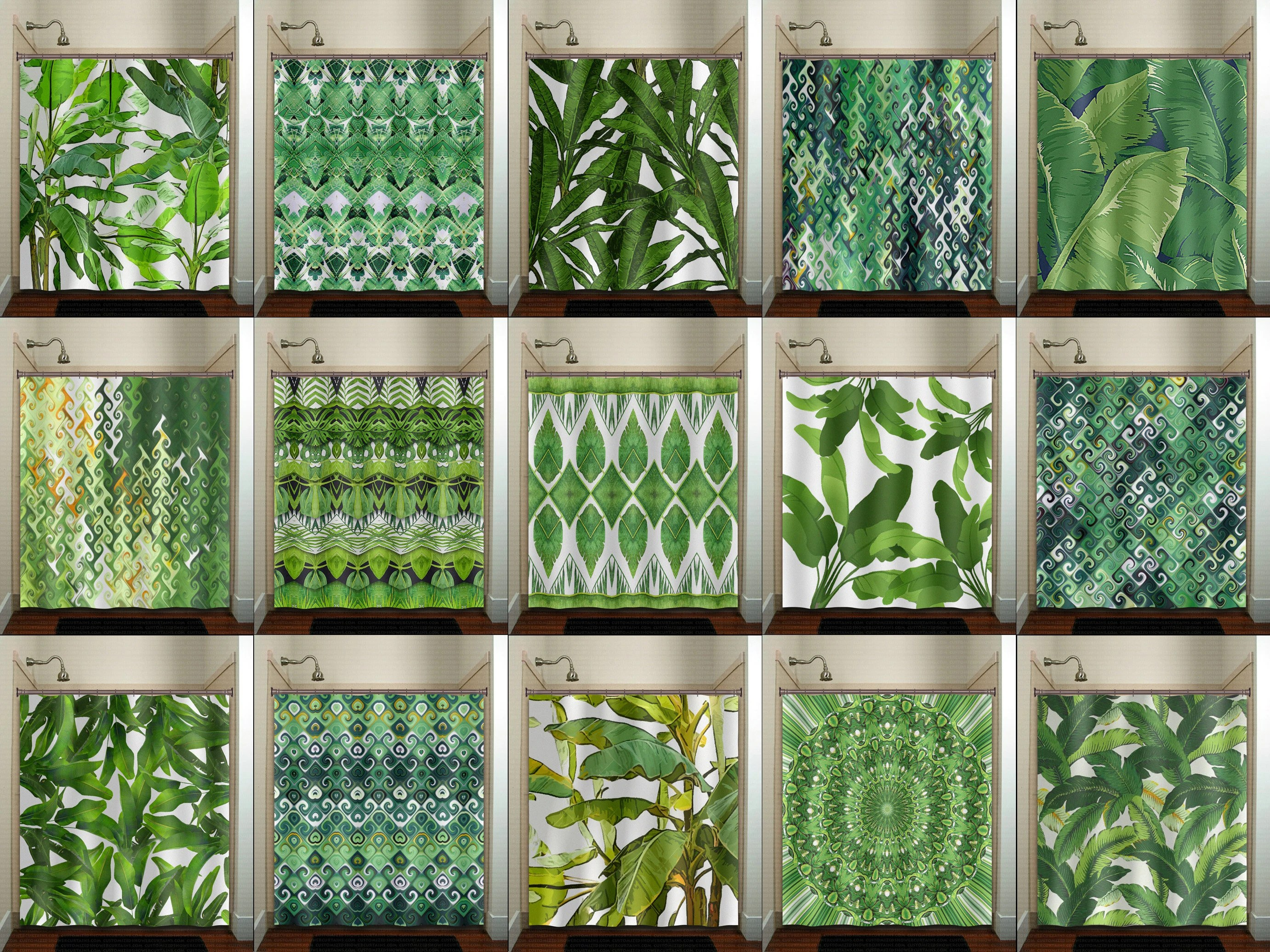 Banana Leaf Shower Curtain Banana Leaf Curtain Panel Extra Long Shower Curtain 84 Inch Fabric Custom Size 96 Inch Tropical Green Bathroom Decor