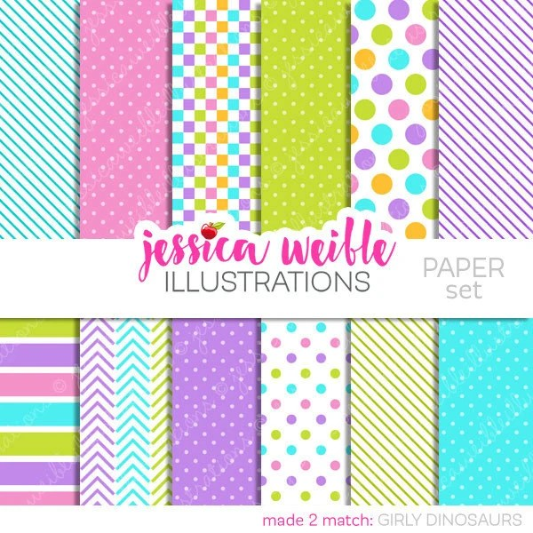 Girly Dinosaurs Cute Digital Papers Backgrounds for Etsy