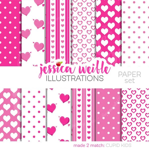 Cupid Kids Cute Digital Papers Backgrounds for Invitations Etsy