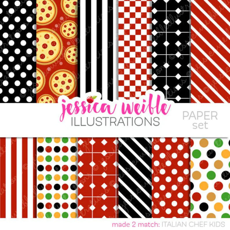 Italian Chef Kids Cute Digital Papers Backgrounds for Etsy