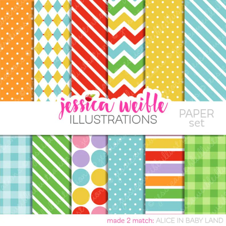 Alice in Baby Land Cute Digital Papers Backgrounds for Etsy