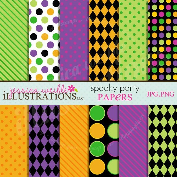 Spooky Party Cute Digital Papers Backgrounds for Invitations, Card