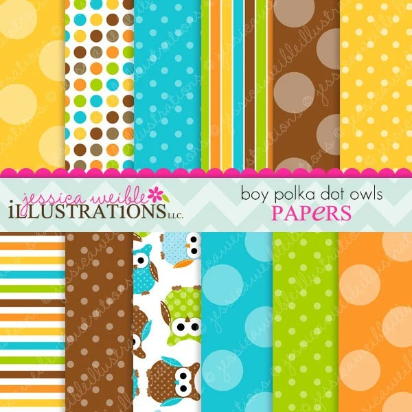 Boy Polka Dot Owls Cute Digital Papers Backgrounds for Invitations