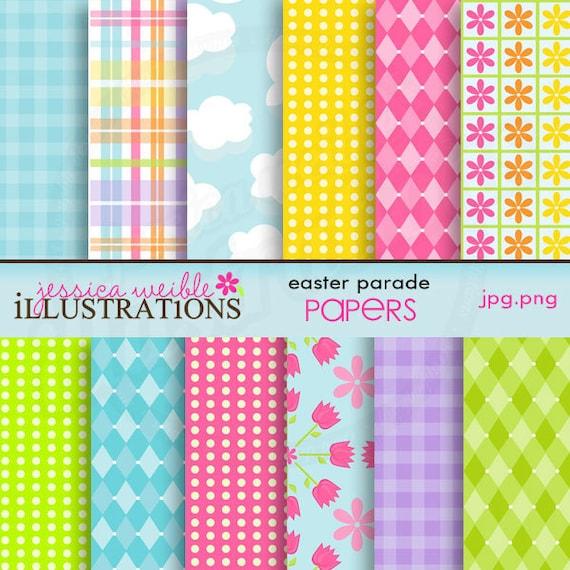 Easter Parade Cute Digital Backgrounds for Card Design, Scrapbooking