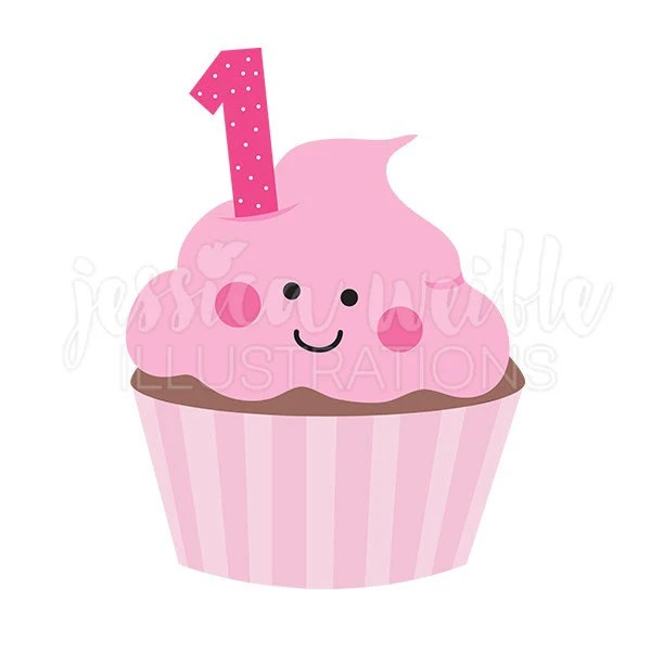 Pink Girls First Birthday Cupcake Cute Digital Clipart Etsy
