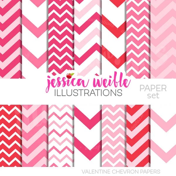 Valentine Chevron Cute Digital Papers Backgrounds for Invitations