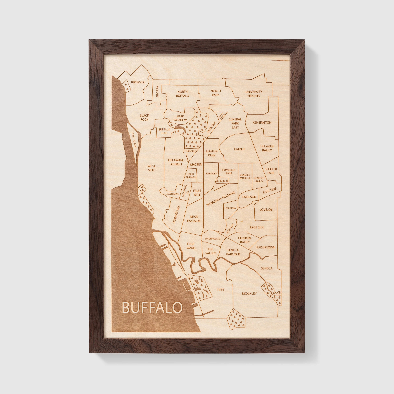 Buffalo Map City Wall Art Engraved Neighborhood Map Etsy