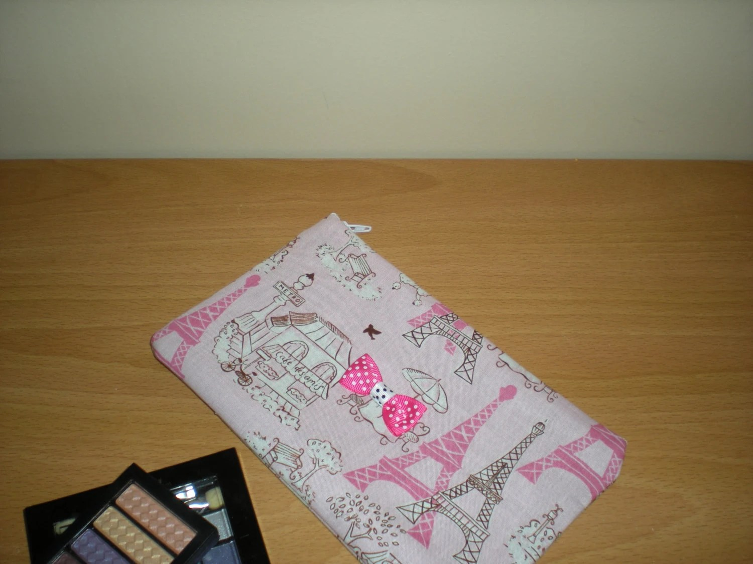Makeup Cosmetic Pencil Case Pouch Pink French Inspired