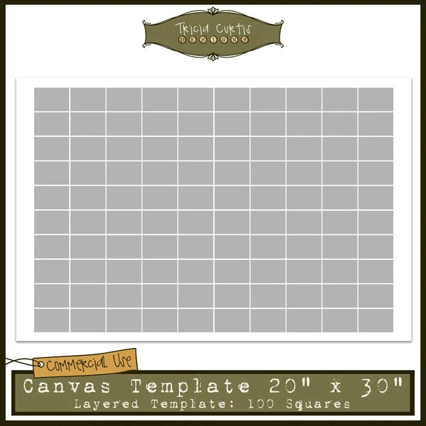 20 x 30 Canvas Template 100 Squares Collage Sheet Etsy