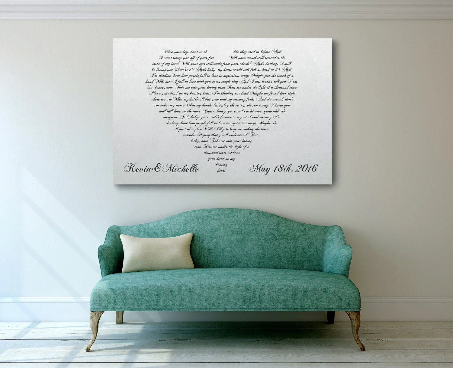 Sofa Lyrics Az Wedding Song Wall Art First Dance Canvas Cotton Anniversary Gift Gift For Wife Gift For Her Couples Gift