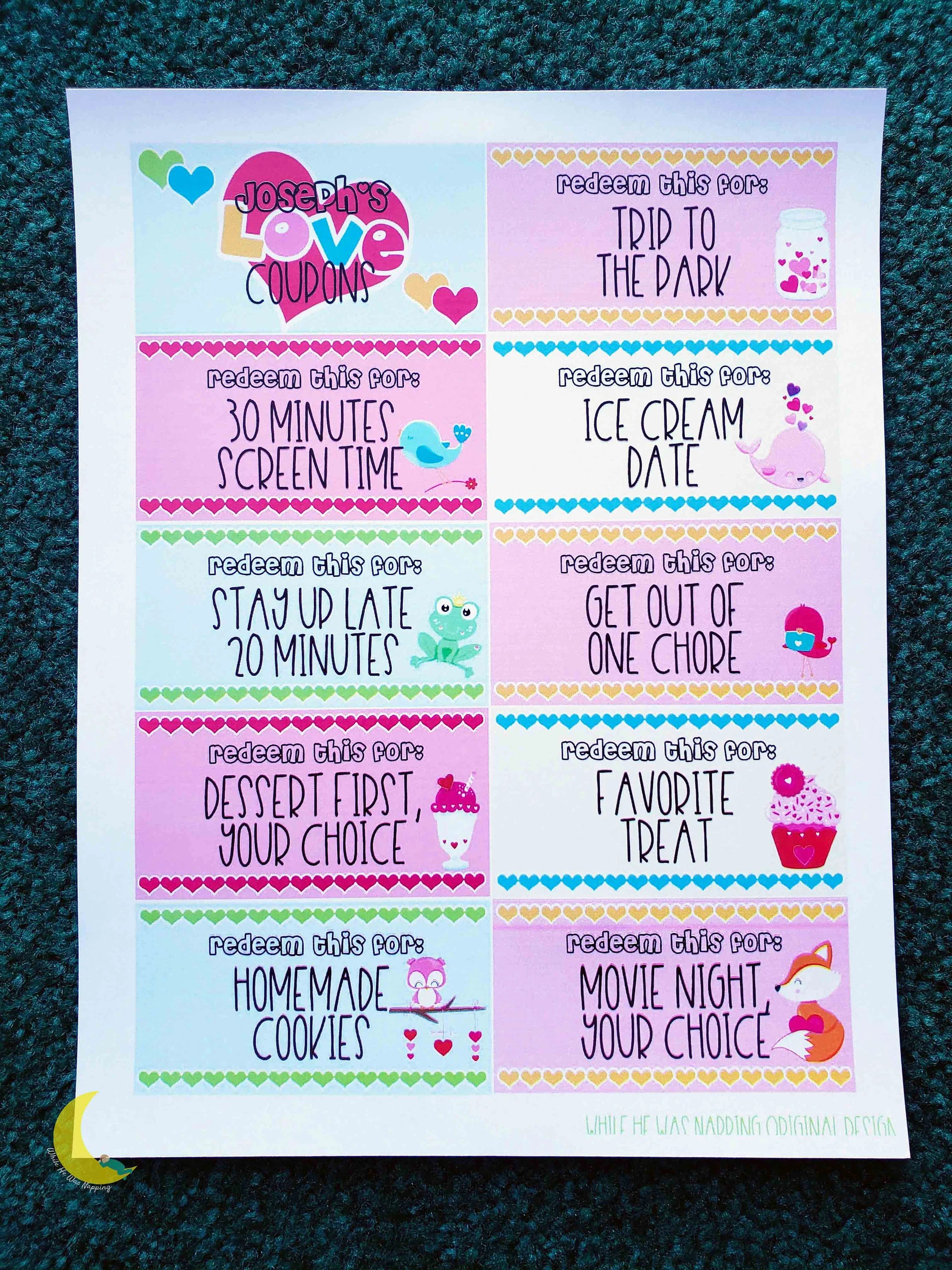 Movie Park Coupon Kids Printable Love Coupons Printable Coupons For Kids Kids Printable Coupon Book Digital Download