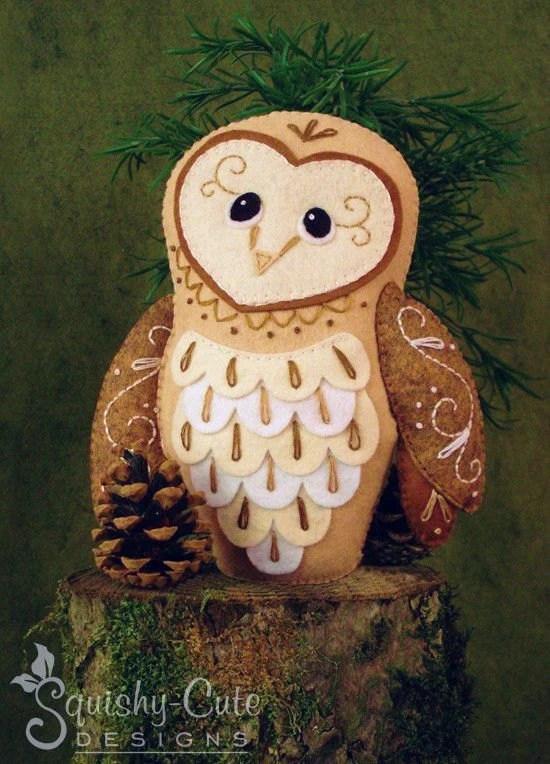 Barn Owl Sewing Pattern PDF Woodland Stuffed Animal Felt Etsy