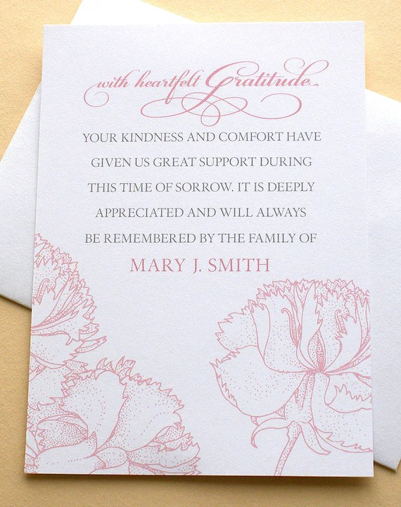 Funeral Thank You Cards With Pink Carnations Personalized Etsy