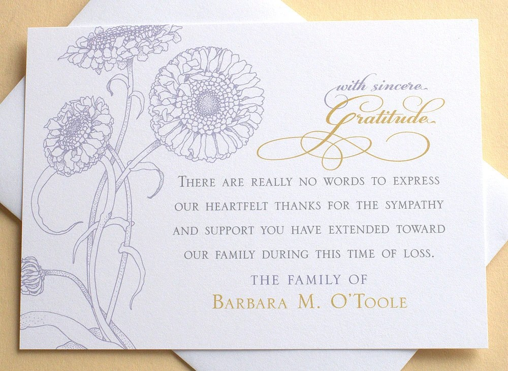Sympathy Thank You Cards with Purple Flowers Personalized Etsy