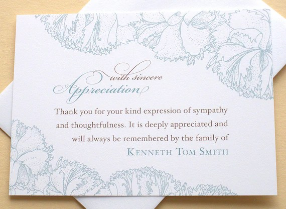 Sympathy Thank You Cards with Blue Carnations Personalized Etsy