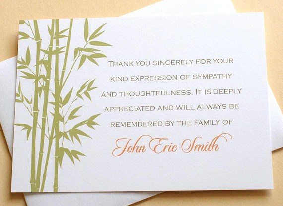 Bamboo Personalized Sympathy Thank You Cards Personalized Etsy