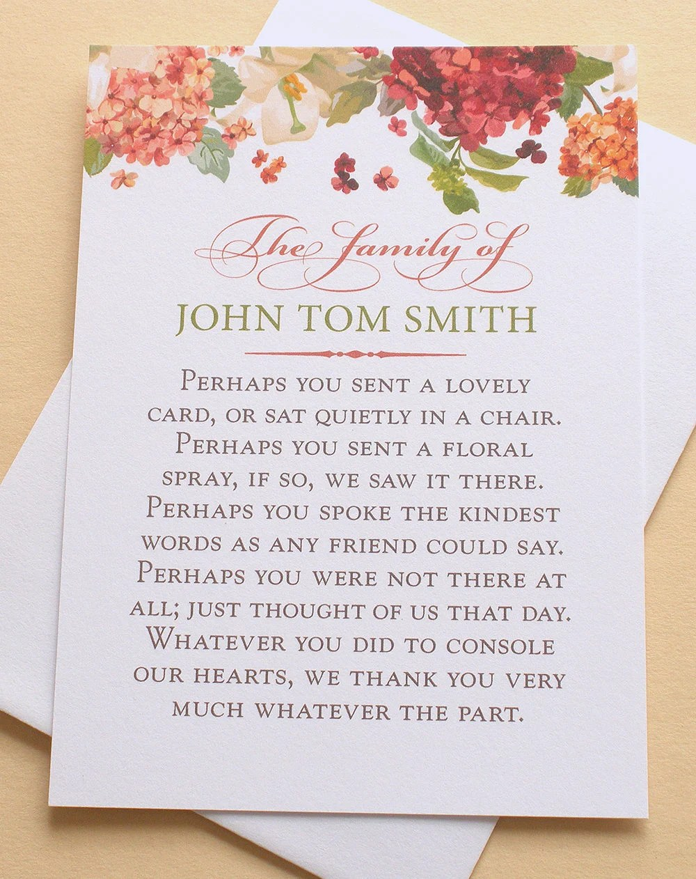 Funeral Thank You Cards with Hydrangeas Personalized Etsy