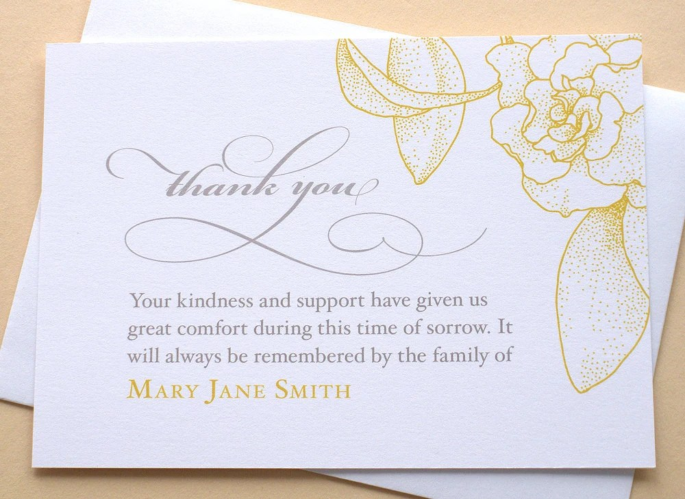 English or Spanish Sympathy Thank You Cards with a Big Yellow Etsy
