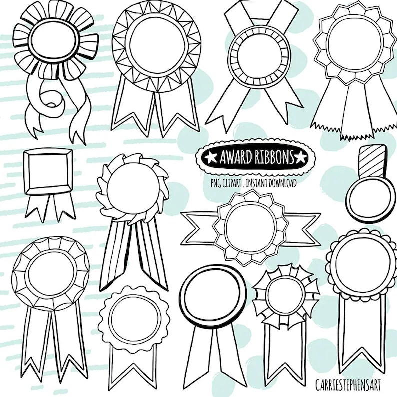 Doodle Award Ribbon, Black  White LineArt Digital Graphic, Line Art Label  ClipArt, Birthday Award Template, Print and colour DIY