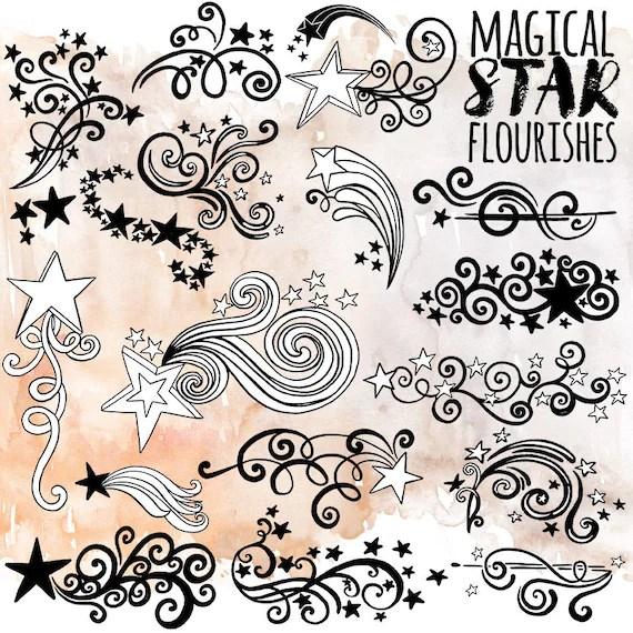 Star ClipArt Design, Whimsical Swirly Flourish, Decorative Star