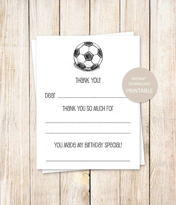 PRINTABLE soccer thank you cards  fill in the blank thank you Etsy