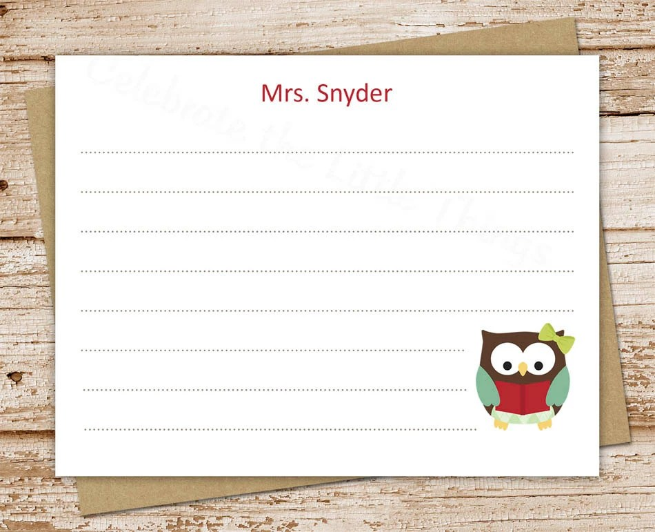 PRINTABLE personalized teacher note cards  owl teacher notecards