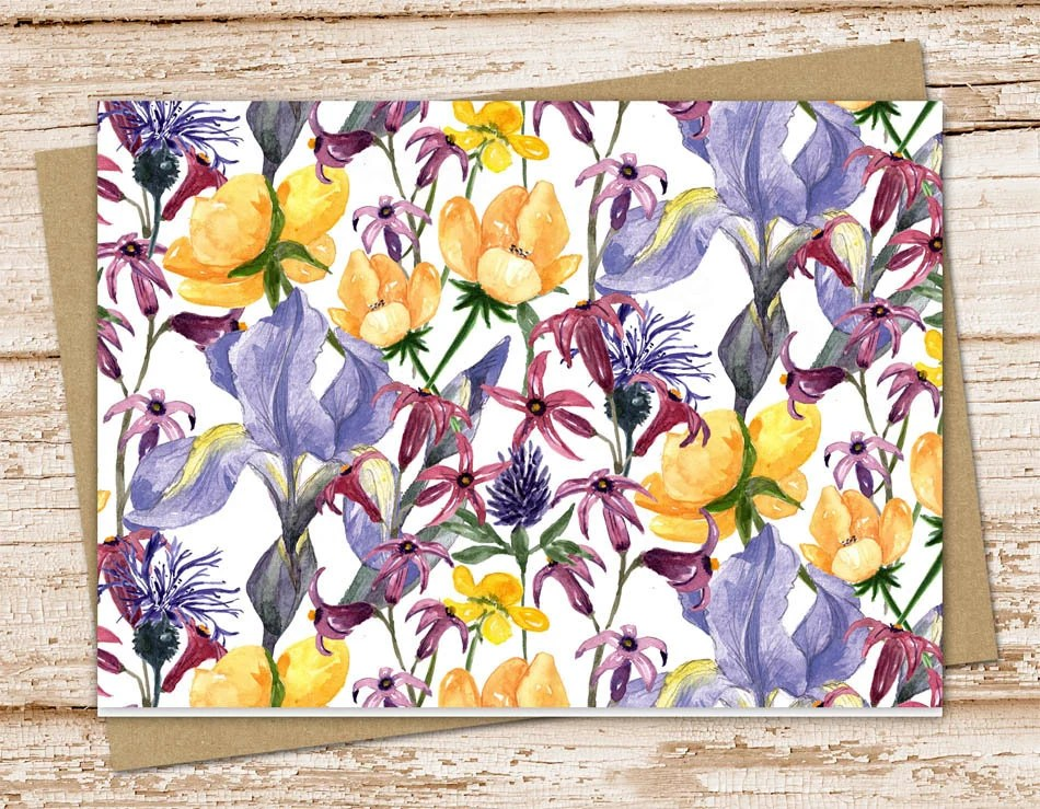 purple  yellow flowers note card set  floral notecards  blank