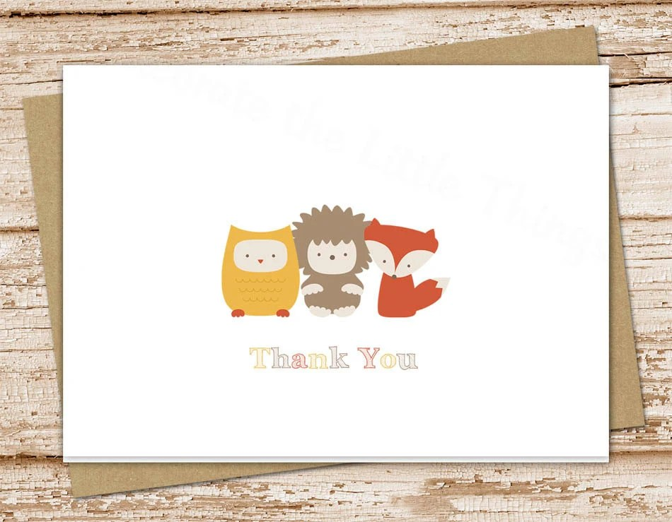 PRINTABLE forest animals thank you cards  folded note cards