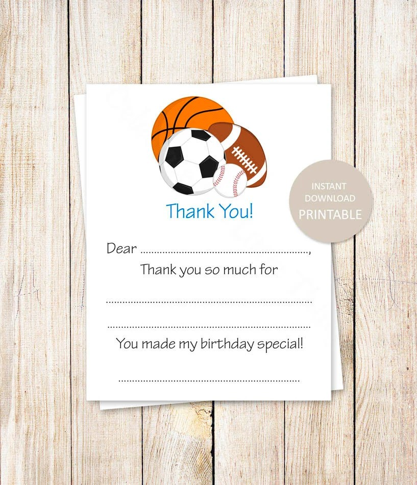 printable all star thank you cards  birthday fill in the blank