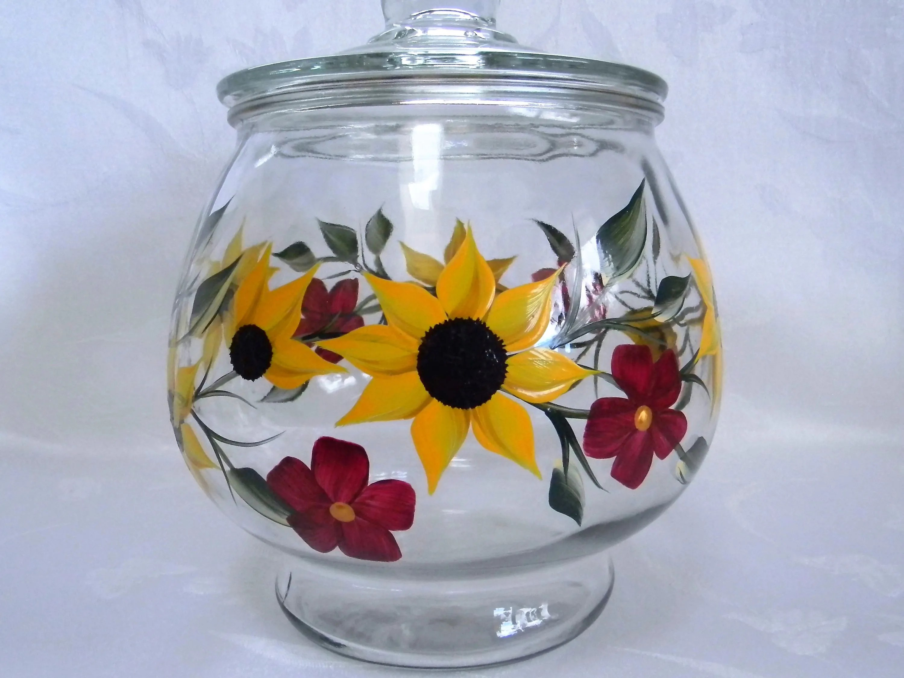Huge Glass Cookie Jar Large Cookie Jar Sunflower Cookie Jar Glass Cookie Jar