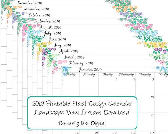 Printable Calendar 2019 Monthly Landscape View Floral Etsy