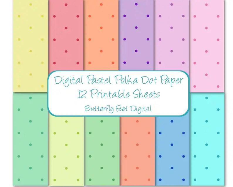 Pastel Polka Dot Digital Paper Pack 12 Printable Designs Etsy