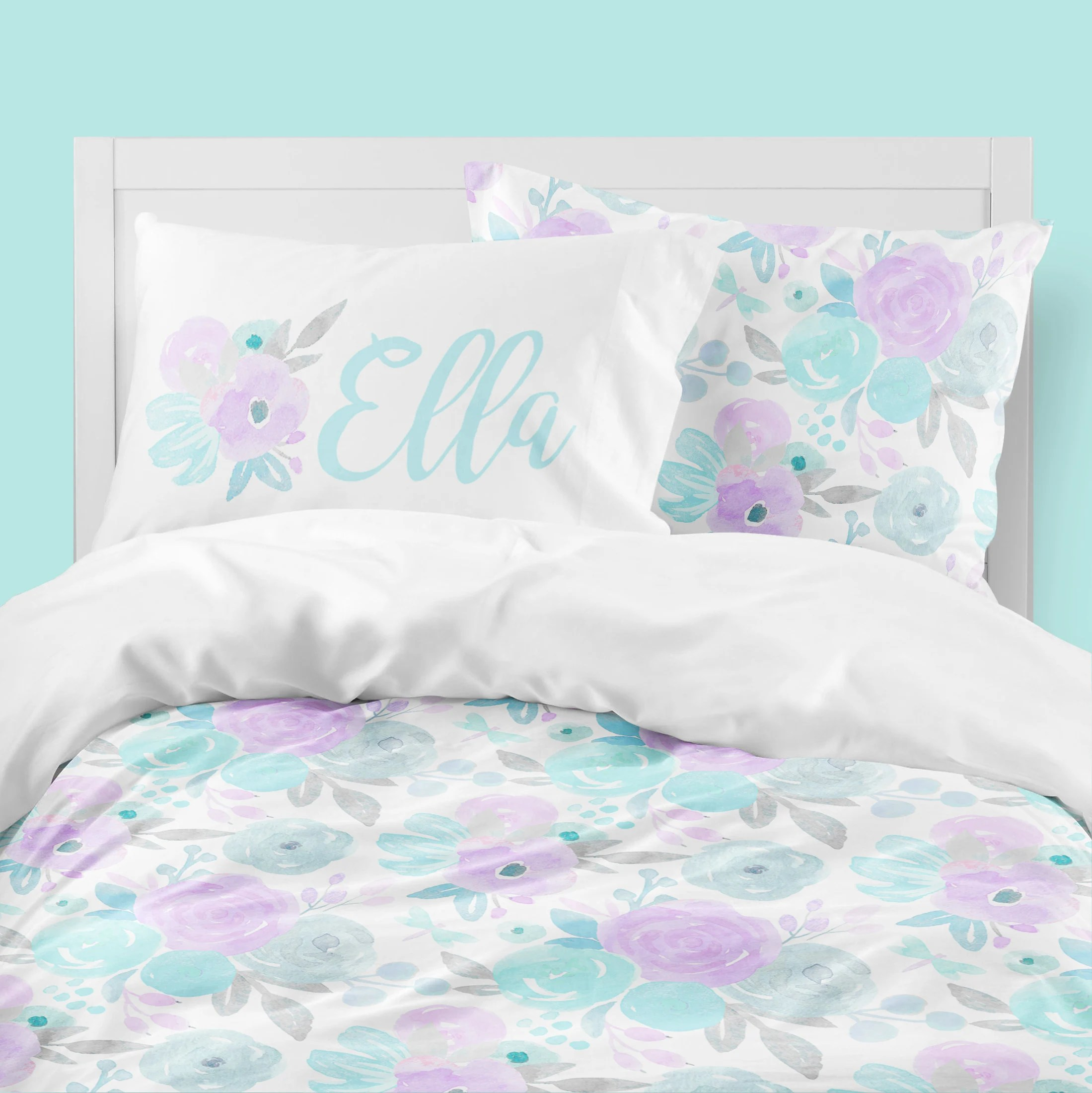 Duvet Covers And Comforters Floral Bedding Set Duvet Cover Comforter Girls Room Pillowcase Set Purple Aqua Todder Bedding Twin Bedding King Queen Watercolor