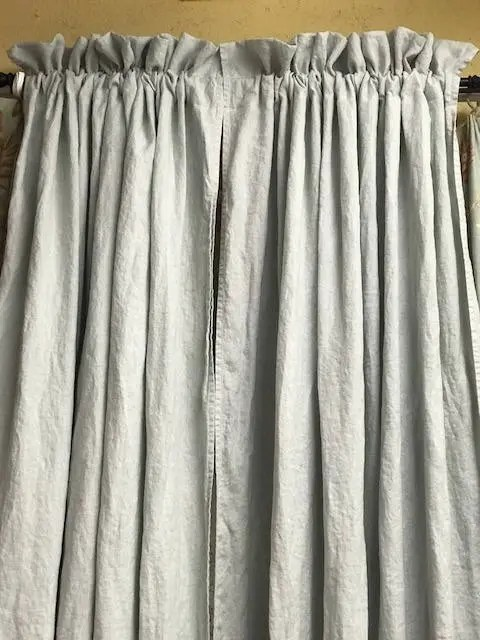 Ruffle Curtain Panel One Pair Of Ruffled Washed Linen Curtains In The Color Dove Rod Pocket Ruffled Curtains Unlined Curtains 2 Ruffled Panels