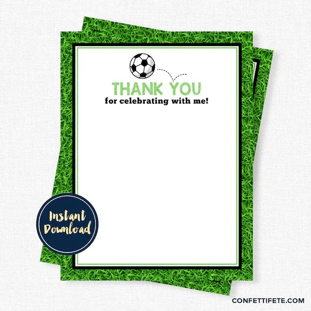 Soccer Ball Thank You Cards, Birthday Thank You, Boys Thank You