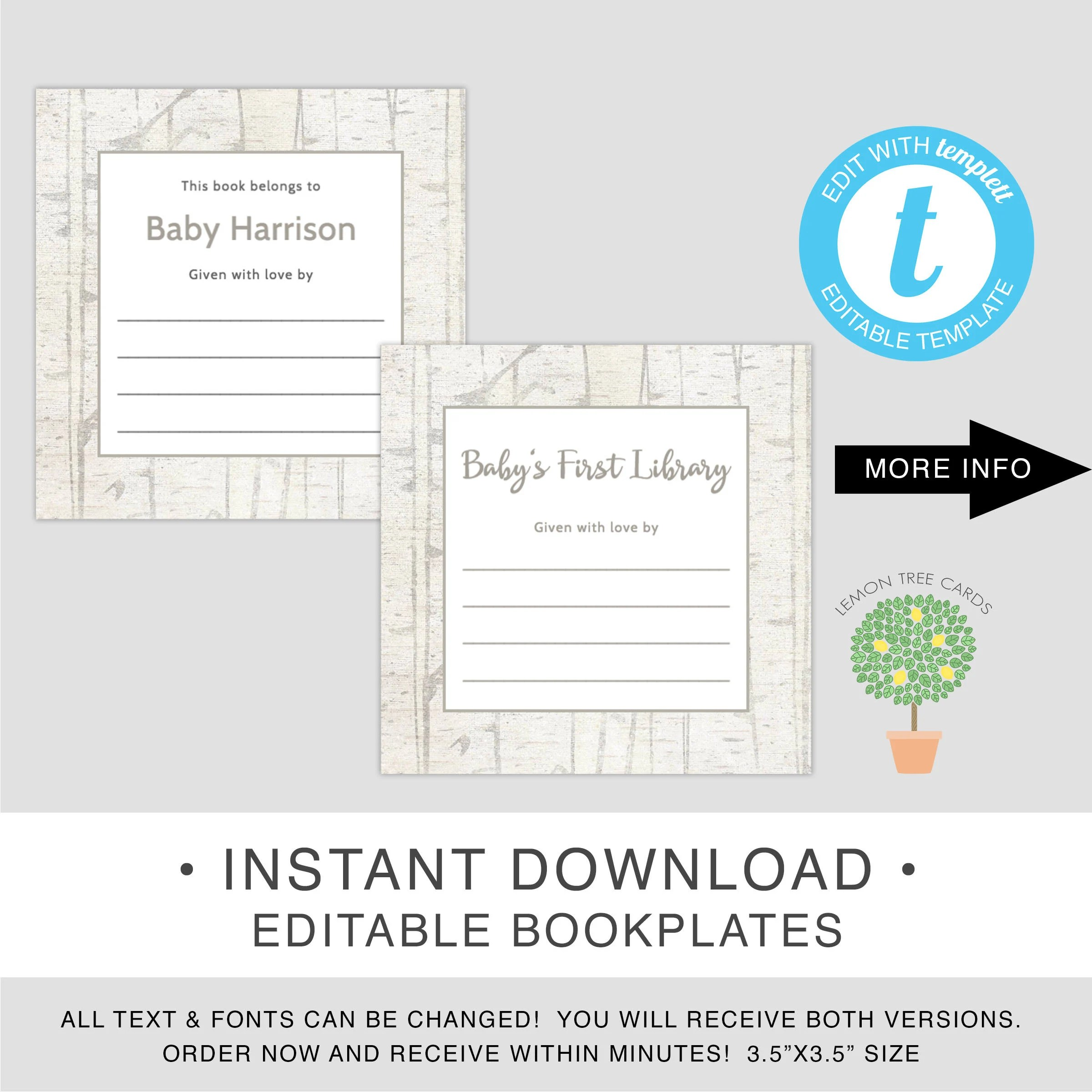 EDITABLE Bookplates rustic book stickers instant download Etsy