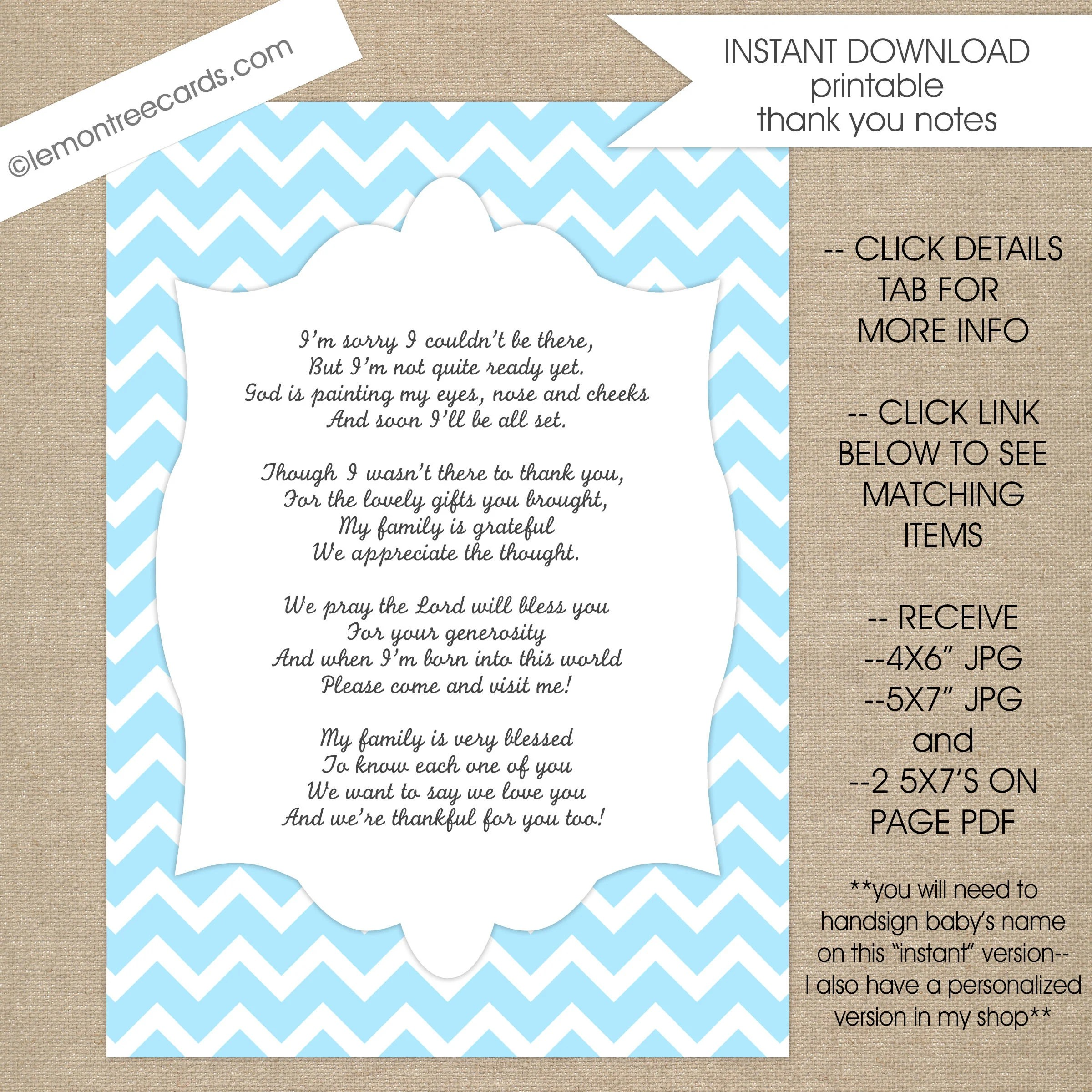 Baby Shower Thank You Poem Notes / INSTANT download / boy baby