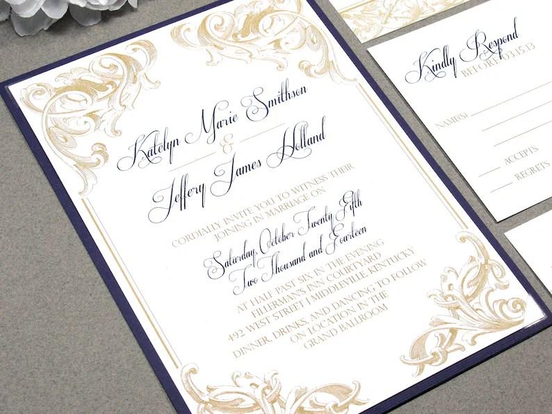 Scroll Wedding Invitations Purple and Gold Wedding Invitation Etsy