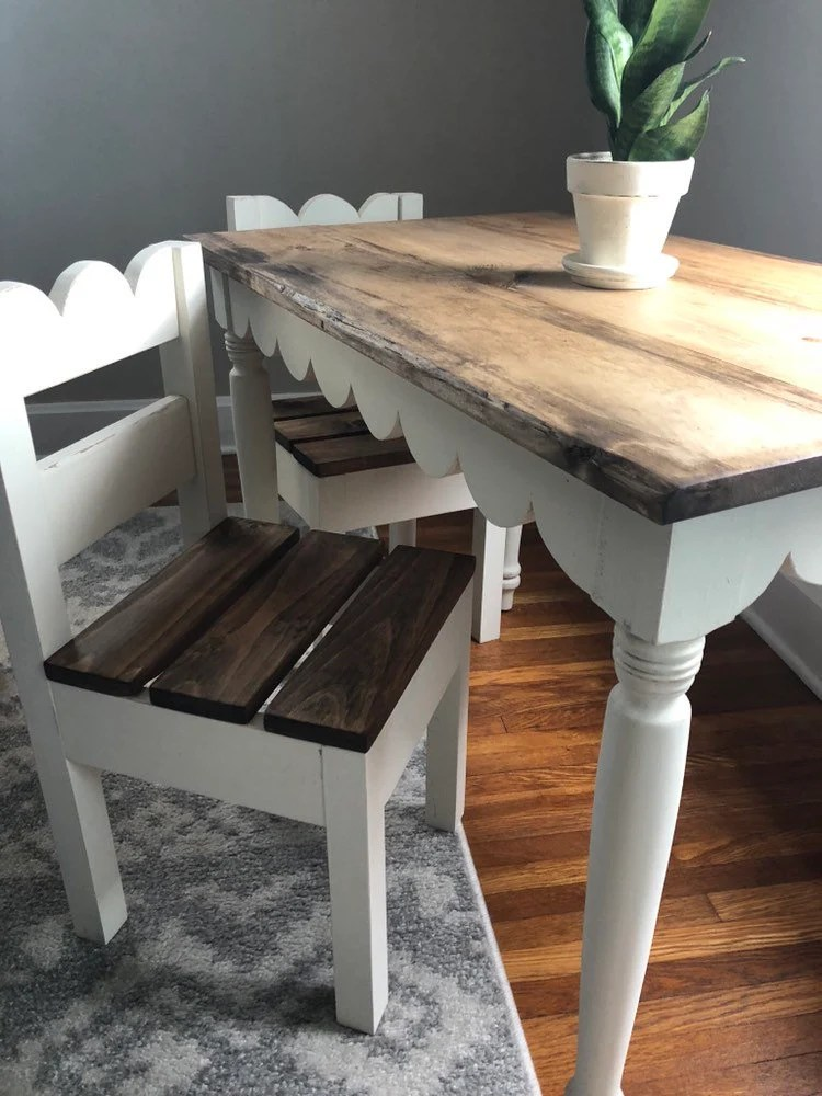 Children's Trestle Table Children S Scalloped Farmhouse Table Chairs Sold Seperately
