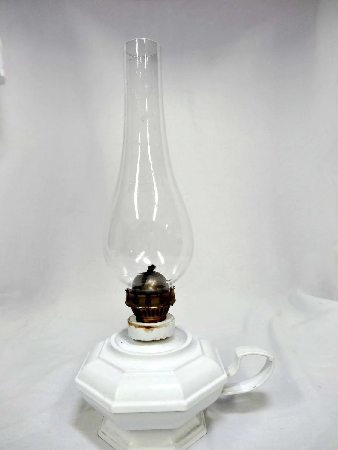 Glass Lamp Tables Ireland White Metal Base With Glass Globe Hurricane Oil Lamp Home And Etsy